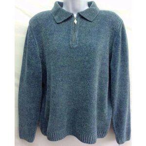 Women's Sweater Blue 1/4 Zip Long Sleeve S